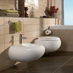 Pure Stone collection #wallmounted bidet & toilet | Villeroy & Boch