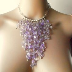 Beaded Statement Necklace Chunky Purple Ametrine by FiveLittleGems, $84.00