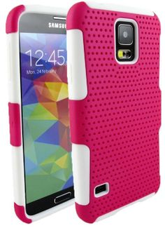 myLife (TM) Hot Magenta and Bright White - Perforated Mesh Series (2 Layer Neo Hybrid) Slim Armor Case for the NEW Galaxy S5 (5G) Smartphone...