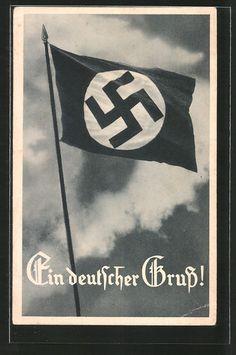 old postcard: AK Ein deutscher Gruß!, Hakenkreuzfahne