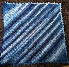 Hand Crocheted c2c corner to corner baby blanket in variegated blues by Katiebeesknits on Etsy