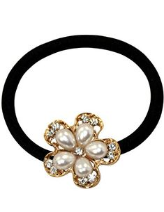 Rhinestone Accented Faux Pearl Flower Ponytail Holder *** Visit the image link for more details. #HairElasticsandTies