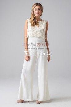 Lovely lace bridal jumpsuit sposa pantaloni with vest wps-022
