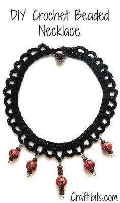 Crochet Beaded Necklace.. Free pattern!
