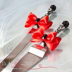 Rojo negro y blanco pastel servidor y cuchillo por DiAmoreDS