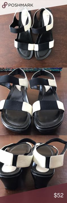 DANSKO Tag Sz 37(6.5-7) Wedge Sandals Cute and comfy wedge sandals by Dansko   Tag Size: 37 Color: Black and white Material: Leather upper and lining  Condition: Pre owned used with signs of wear that includes scuffs. Dansko Shoes Sandals