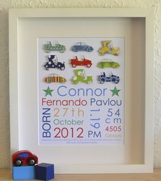 New Baby Christening Gift Unframed Print Boy/'s Name Print in Block Letters