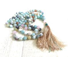 Amazonite Knotted Mala Beads Hand Knotted 108 par TrueNatureJewelry