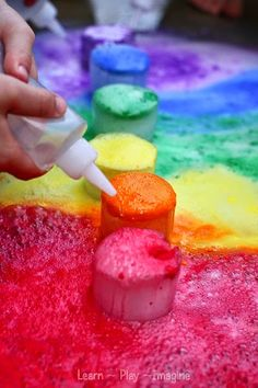 Rainbow fun with icy eruptions
