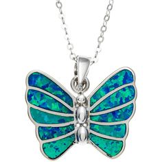 La Preciosa Sterling Silver Blue Opal Butterfly Pendant ($27) ❤ liked on Polyvore featuring jewelry, pendants, necklaces, blue, pendant jewelry, sterling silver pendants, sterling silver butterfly jewelry, polish jewelry and butterfly jewelry