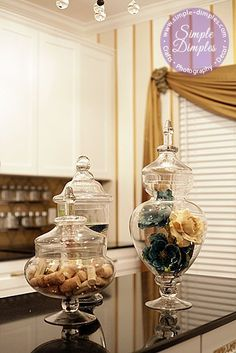 Apothecary Jars -would love one in the guest bathroom with hotel soap, shampoo etc for people to help themselves.