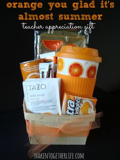 Celebrate summer and the end of the school year with this orange themed teacher appreciation gift!