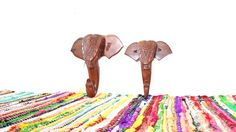 Your place to buy and sell all things handmade Elephant Hat, Vintage Elephant, Hat Hooks, Towel Hooks, Elephant Home Decor, Carved Wood, Carving, Display, Coat