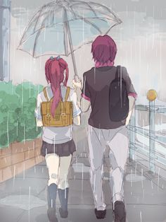 looks like the siblings from free im not sure Manga Art, Anime Manga, Anime Art, Anime Siblings, Anime Couples, Swimming Anime, Free Eternal Summer, Free Iwatobi Swim Club, Anime Group