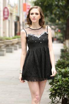 elegant lace dress with mesh insert