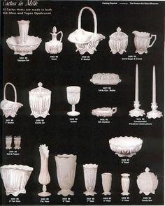 "Fenton ""Cactus in Milk"" glass pieces. Antique Glass Bottles, Antique Glassware, Cut Glass, Glass Art, Glass Cactus, Fenton Glassware, Westmoreland Glass, Vintage Vases, Carnival Glass"