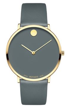 fc04a03e7004 Free shipping and returns on Movado Ultra Slim Museum Dial Leather Strap  Watch