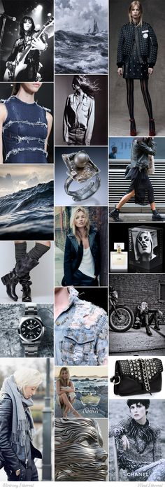 Wind Ethereal moodboard. One of 18 beauty types created by GretaKredka. Rock, motorcycle and military styles, matte leather, washed-out jeans, melange, mottled fabrics, motorcycle jackets, studs, rivets, eyelets, chains, buckles, big scarves, heavy boots (military, motorcycle, rock), toned colors, leather studded jewelry, metal burnished silver jewelry with rough gems. Color essence: True Summer.