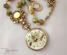 Mixed Media Jewelry Pocket Watch Necklace Antique by jryendesigns  $174
