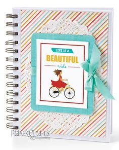 Make a cute notebook using a free download and paper crafting supplies; P. Kelly Smith - Paper Crafts July/August 2013: paper crafting, free download, gift