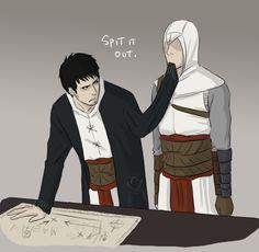 A bored Altair chews on Malik's sleeve.