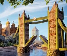 The Tower Bridge - made of runner beans, celery, and Shredded Wheat atop pineapple slices.
