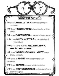 "Writer's Eyes student chart...though, I may add or replace ""writer"" with ""reader"" so that it says ""Reader's Eyes"".  In addition to giving the writer a reminder of what the reader is 'expecting' to find in the content of their piece, it would give purpose or reason for following conventions of writing, including spelling and grammar!  Plus, it's fun to look at! :) Love this!"