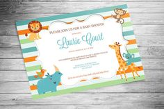 Baby Shower Animal Invitation - 10PK