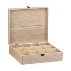 Bare Wood Rectangular Tea Box - 12 Compartments #8182