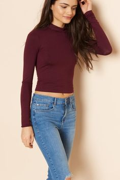 Mock Neck Long Sleeve Top Garage Clothing, High Waist Jeggings, Turtleneck Shirt, Outfit Goals, Mock Neck, World Of Fashion, Long Sleeve Tops, Winter Outfits, Autumn Fashion