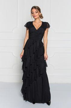 Dlhé spoločenské šaty s krátkym tylovým rukávom, hlbokým