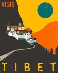 Tibet travel poster retro pop artwork giclee fine by jazzberryblue. Party Vintage, Poster Art, Poster Retro, Poster Poster, Print Poster, Travel Ads, Travel Logo, Japan Travel, Tourism Poster