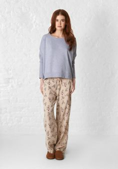Antique Floral Pyjama Trousers in Beige from hush