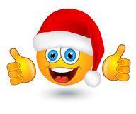Illustration about Yellow shiny round emotion in Santa hat on white background. Illustration of cartoons, head, christmas - 35420878 Christmas Emoticons, Emoji Christmas, Christmas Humor, Xmas, Animated Smiley Faces, Funny Emoji Faces, Cute Emoji, Emoji Pictures, Emoji Images