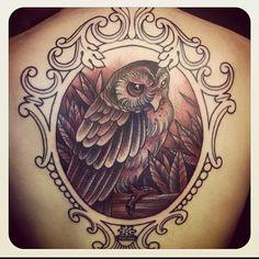 Owl with frame tattoo by Crispy Lennox