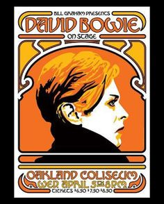 Poster image promoting David Bowie's performance on April 5th, 1978 in Oakland. (Tickets started at $6.50!!!) #DavidBowie. #RIPDavidBowie. #Oakland.