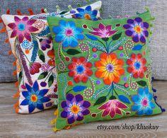 Embroidered  Pillow Peru Hand  flowers Sheep & alpaca wool 16 x 16 handmade Green Peruvian cushion by khuskuy on Etsy