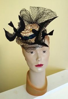 """Tiny straw boater with swooping felt birds and vintage veiling. The Little Hat Project 2016 """"Chaos"""" 