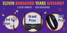 Eleven Banggood Year International Giveaway!  6 winners! Win an Eachine Googles, Xiaomi Mi Band 2, or Bluetooth Tripod. See and join below!