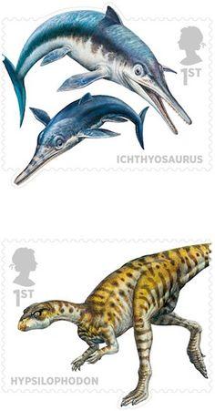 Dinosaurs [and other Mesozoic critters] | John Sibbick | Royal Mail | via @Jane Curtis Dinosaur
