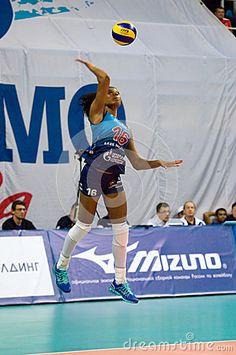 MOSCOW - DECEMBER 2: Fernanda Garai Rodrigez pitch on a game Dynamo MSK vs Dynamo KZN on Russian National wemen Volleyball tournament on December 2, in Moscow, Russia, 2015