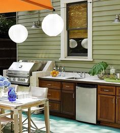 Wow! A full outdoor kitchen. Perfect for outdoor, deck party - DREAM backyard setup
