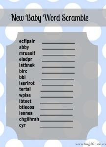 New baby boy word scramble… Click for more FREE printable shower games!