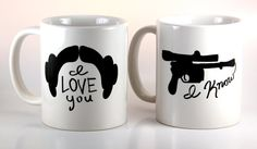 """""""I Love You. I Know."""" coffee mug set from ShirtAndCup on Etsy! Can't wait for the new Star Wars to come out!"""