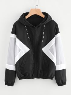 Hooded Sweatershirt Zip for Teen Girls Festiday Ladies Long Sleeve Color Block Jacket Womens Fancy Windbreaker Hooded Coat Top Casual Pocket Outwear Streetwear Care Styling Accessories Cardigans-Sweatshirts Zip Hoodie, Sport Pullover, Sweatshirt, Windbreaker Jacket, Hooded Jacket, Trench Jacket, Trench Coats, Coats For Women, Jackets For Women