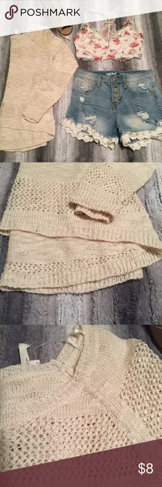 Cream Sweater Product Description ▫️High low knitted sweater in a lovely cream look ▫️Give it the perfect boho inspired look with lace shorts and a bralette or overall neutral palette ▫️Works for warm/cold weather  ▫️Sheer material  ▫️Super cozy  Measurements:  ▫️Length (longest & shortest)- (21 in. & 15.5 in.)  ▫️Waist- 31 inches  ▫️Bust-  36 inches  ▫️Arm- 25 inches   ⭐️See Buyer Guarantee ⭐️  ⚡️Follow my insta for the non-Poshmark side of my life⚡️----> @hayleysforsblom Pink Rose Sweaters