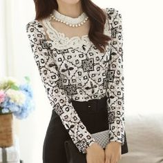 Vintage Round Neck Long Sleeve Spliced See-Through Chiffon Women's Blouse