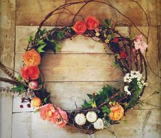 Use loose grapevine to creat more flow on traditional wreaths