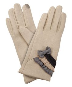 Another great find on #zulily! Beige Ruffle-Trio Bow-Accent Touch Screen Gloves #zulilyfinds