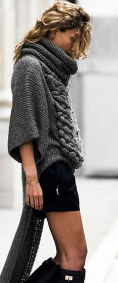 Love the sweater boots and short!!!! Love this whole look!!